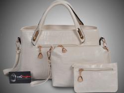 Bỏ sỉ bộ 3 túi xách màu trắng - Xưởng may túi xách chuyên sỉ tại TPHCM