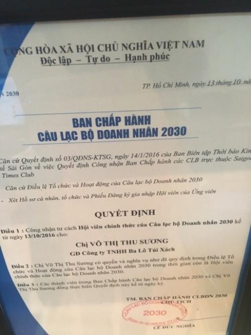 GĐ Balo Túi Xách Thu Sương gia nhập CLB Doanh nhân 2030