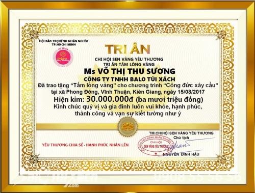 Công ty TNHH Ba lô túi xách chung tay công đức xây cầu tại Kiên Giang, 342, Lâm Thị Hằng, Balo túi xách, 16/08/2017 23:15:12