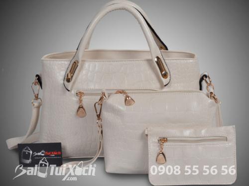 Bỏ sỉ bộ 3 túi xách màu trắng - Xưởng may túi xách chuyên sỉ tại TPHCM, 388, Huyền Nguyễn, Balo túi xách, 06/08/2019 16:58:40