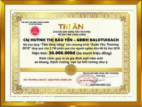 Nữ giám đốc trẻ 9x BaloTuiXach đồng hành cùng Tấm lòng vàng, 484, Huyền Nguyễn, Balo túi xách, 30/01/2019 12:12:14